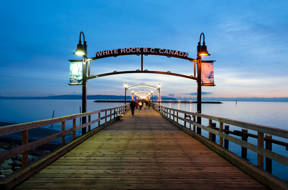 A winter's evening on the historical White Rock pier.