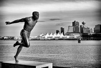 Statue of Canadian Olympic runner Harry Jerome in Stanley Park