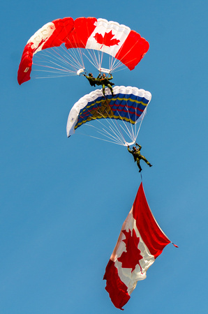 "Canada's military parachute team does some fancy ""parabatics""."